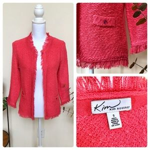Hot Pink Fringe Cardigan